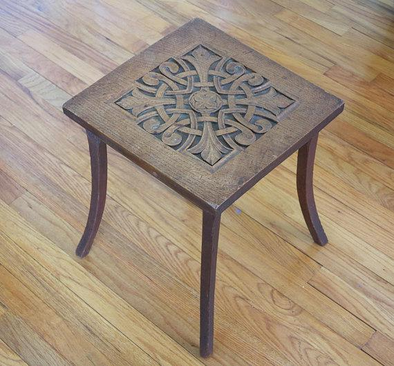 Circa 1900 Hand Carved Arts U0026 Crafts Oak Plant Stand Table   Image 4 ...