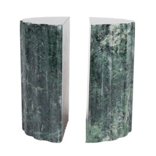 Green-Gray Handmade Marble Bookends - A Pair