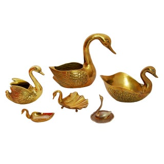 Vintage Brass Swan Dishes - Set of 6