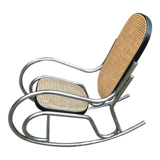 Mid-Century Modern Chrome & Cane Rocking Chair