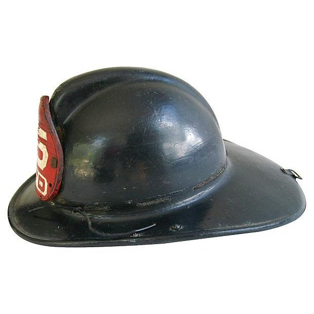 Original Leather Fireman Helmet w/Badge - Image 5 of 7