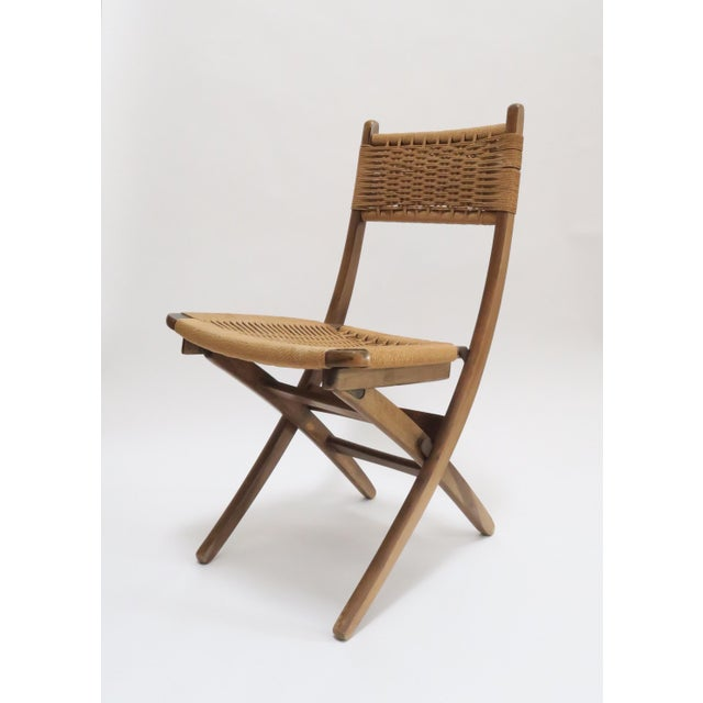 Vintage Danish Modern Rope Folding Chair - Image 2 of 7