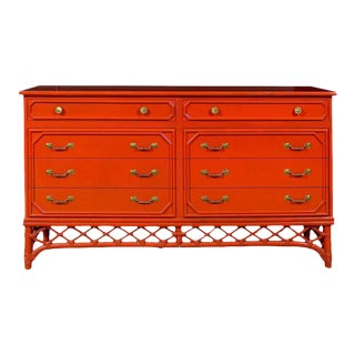 Fabulous Restored Vintage Ficks Reed Chest in Chinese Red Lacquer