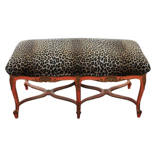 19th C. French  Bench with Leopard Fur Upholstery