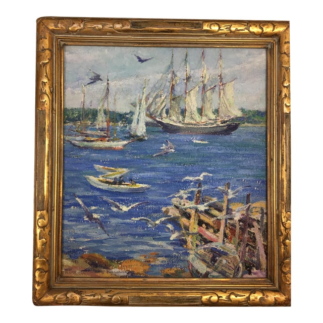 florence white williams oil painting with original gold