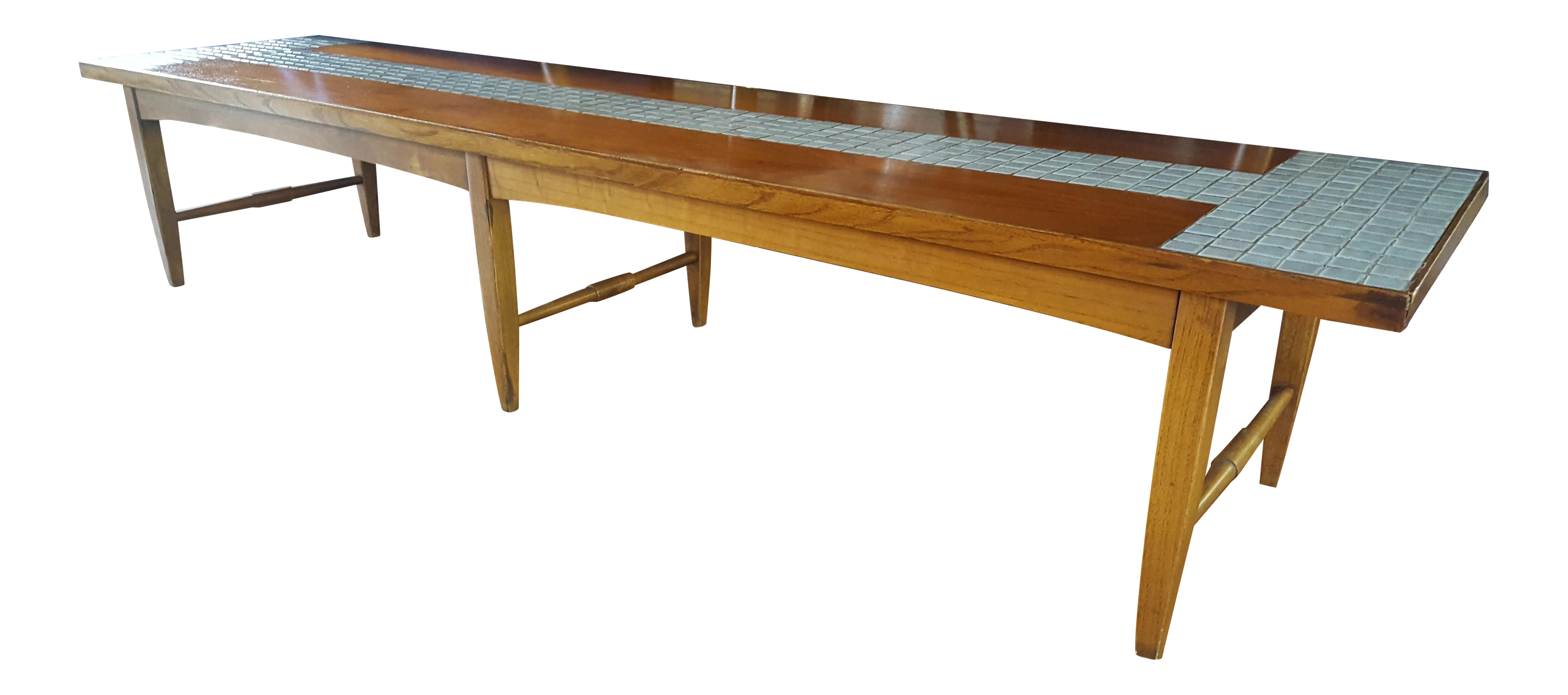 Vintage Mid Century Lane Tiled Long Coffee Table Or Bench
