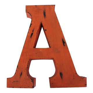 "Metal Letter ""A"" in Orange"