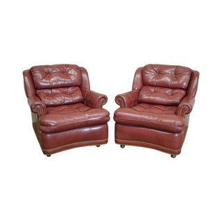 Hancock & Moore Tufted Leather Lounge Chairs - A Pair