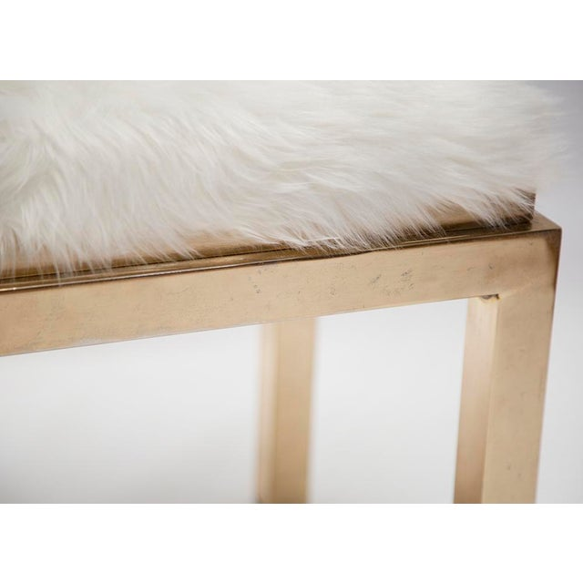1970's Brass Faux Fur Upholstery Benches - A Pair - Image 2 of 8