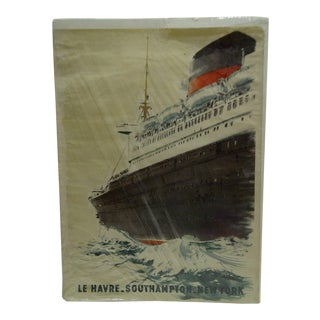 """Circa 1940 Vintage French """"Le Havre"""" Ship Poster"""