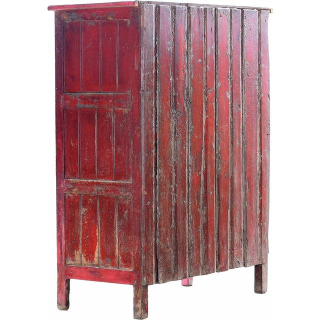 Red Vintage Wood Cabinet - Image 4 of 4