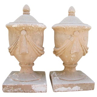 Large Estate Concrete Garden Finials - Pair