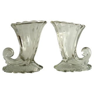 Glass Cornucopia Vases - A Pair
