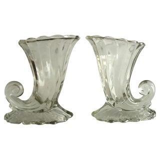 Glass Cornucopia Vases - A Pair