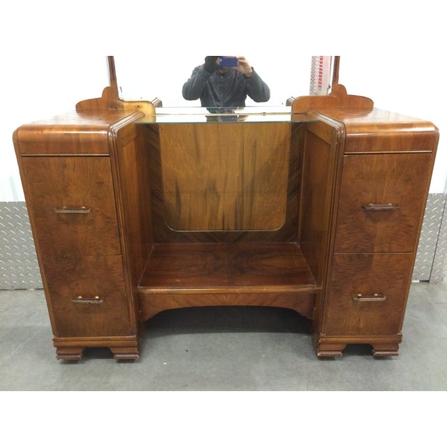 1930's Waterfall Vanity With Mirror & Stool - Image 7 of 9
