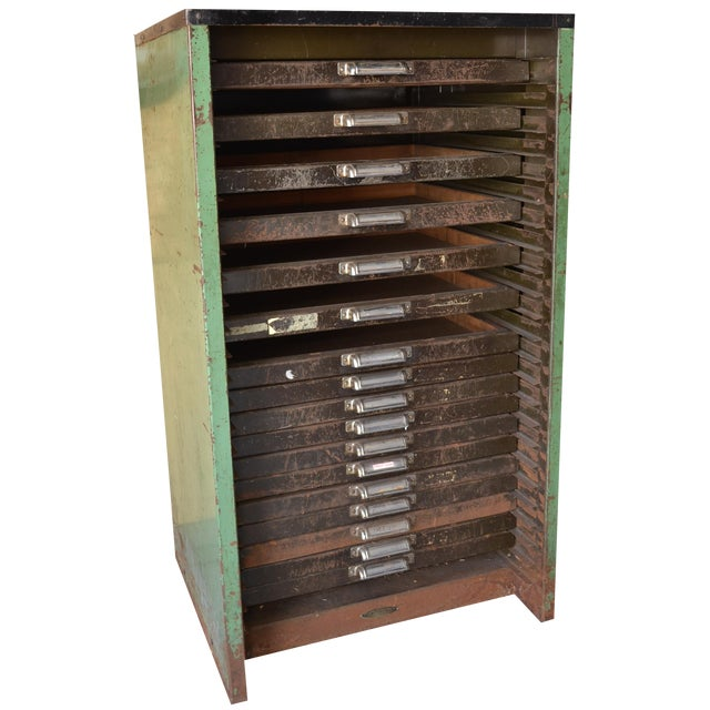 Image of Antique Thompson Letterpress Printing Cabinet