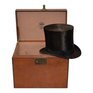 1800s Dunlap & Co. Top Hat & Leather Hat Box by Collins & Fairbanks Co.