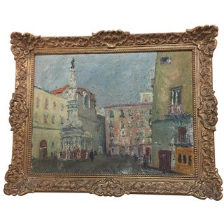 French Oil Painting in Gilt Frame