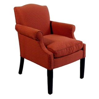 French Arm Chair With Red Checkered Fabric