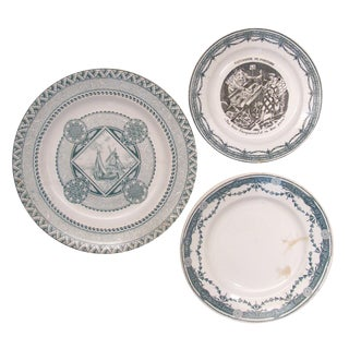 French & English Green Transferware Collection, S/3