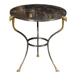 French Neoclassical Style Steel and Marble Guéridon Side Table, circa 1950