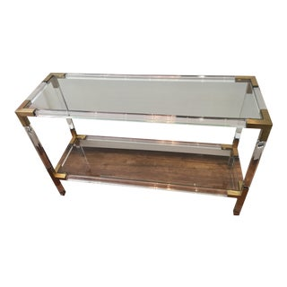 Contemporary Lucite and Brass Console Table