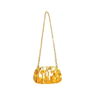 Trifari Brutalist Gold Pendent Necklace