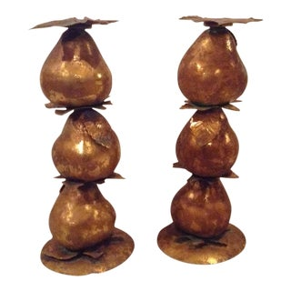 Metallic Pear Candle Holders - A Pair