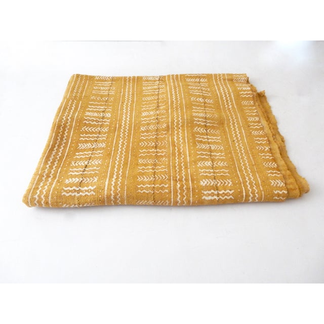 Mustard Bogolan Mud Cloth Textile - Image 3 of 8