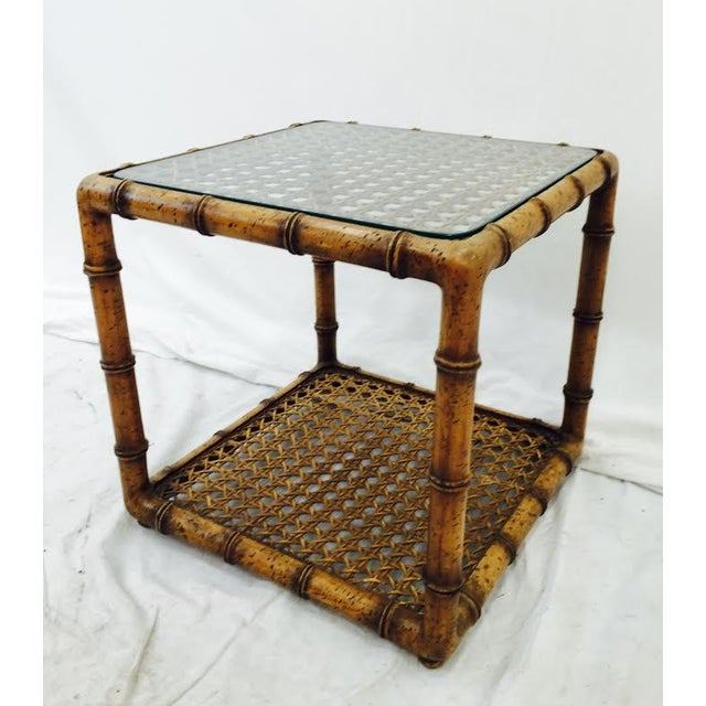 Vintage Bamboo Amp Cane Glass Top Side Table Chairish