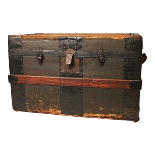 Vintage Industrial Brown Wood Steamer Trunk