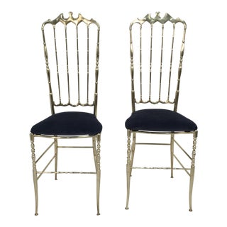 Italian Brass Chiavari Chairs - A Pair