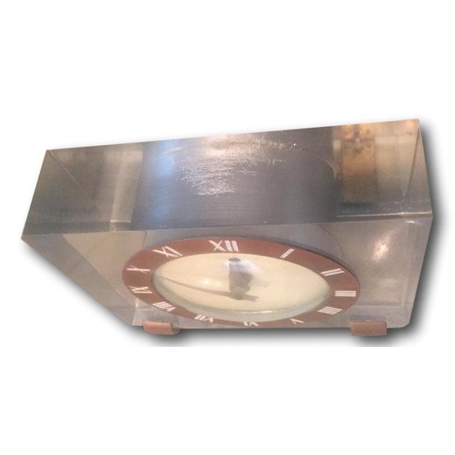 Image of Vintage Lucite & Brass Mantle Desk Clock