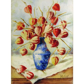 Chinese Lantern Pods in Blue Vase Watercolor