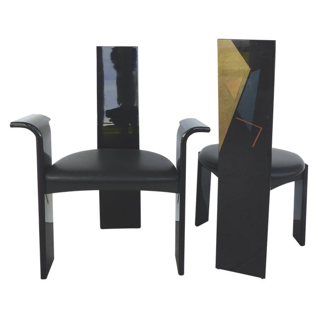 Lacquered Chairs with Painted Backs - Set of 4 - Image 1 of 6