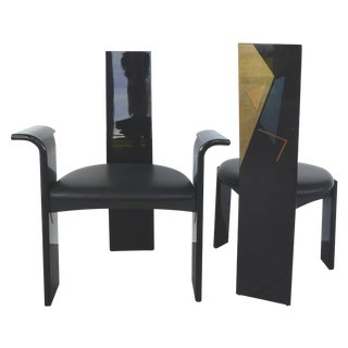 Lacquered Chairs with Painted Backs - Set of 4