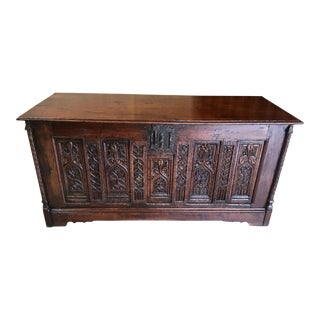 Gothic Oak Desk Converted From a Chest