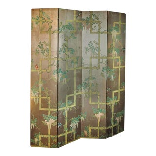 19th Century Four - Panel Painted Screen of Birds and Bamboo
