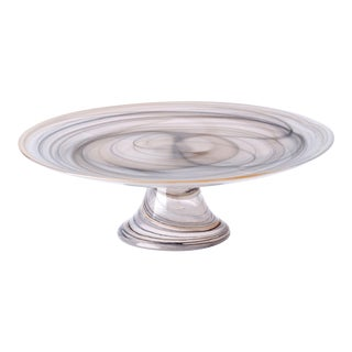 Alabaster Glass Taupe Footed Cake Stand by Vietri