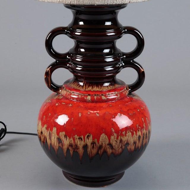 Image of German Mid-Century Ceramic Lamp W/ Original Shade