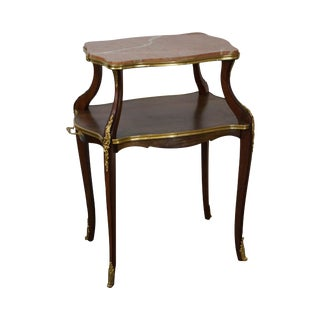 French Louis XV Two Tier Bronze Mounted Marble Top Server Table