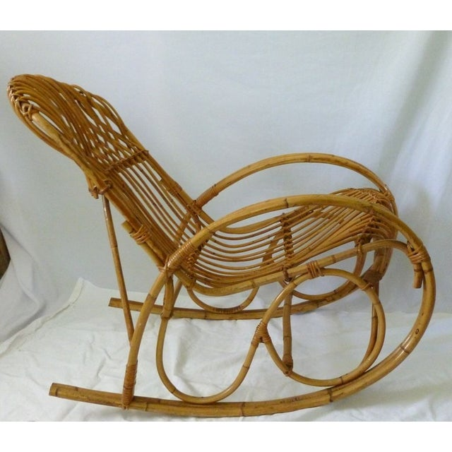 image of franco albini style vintage bamboo rattan rocker. Black Bedroom Furniture Sets. Home Design Ideas