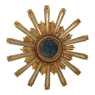Gilded Wood Starburst Mirror