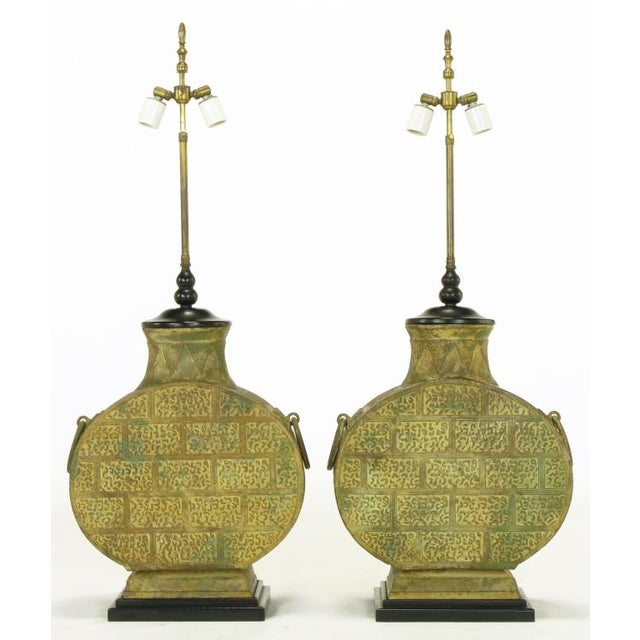 Pair Monumental Bronze Chinese Urn Table Lamps - Image 2 of 9