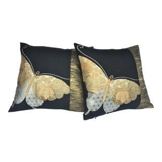 Japanese Butterlfy Obi Pillows - A Pair