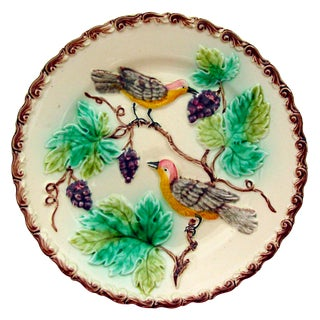 Vintage Majolica Bird & Grapes Plate