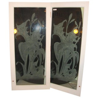 Art Deco Style Etched Glass Wall Decorations - a Pair