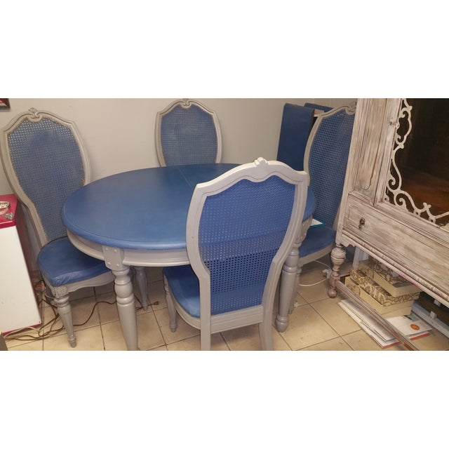 Shabby Chic Blue & Gray Dining Set - Image 4 of 5