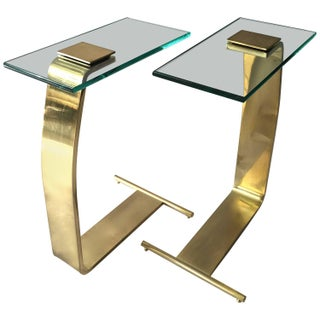 Side Tables in Brass and Glass by D.I.A. - Pair
