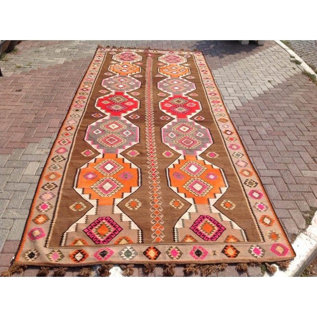 "Vintage Turkish Kilim Rug - 6'5"" X 11'6"" - Image 2 of 6"